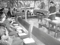 Photograph of Clive Walker teaching